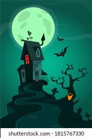 Halloween-Hintergrund mit Gräbern, Bäumen, Fledermäusen, Grabsteinen, Gravierungs- und Spukenhaus. Cartoon-Vektorgrafik einzeln