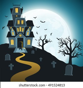 Halloween background with tombs, trees, bats, tombstones, gravey