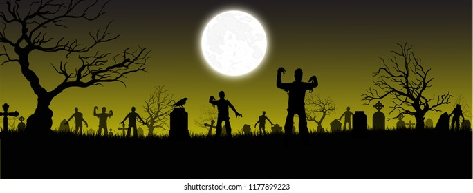 Halloween background. Tombstone(graveyard) with moon and dark forest. Halloween design with copyspace