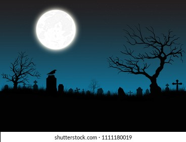 Halloween background. Tombston(graveyard) with moon and dark forest. Halloween design with copyspace
