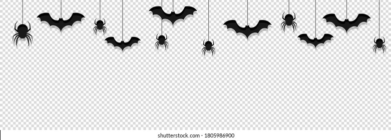 halloween background transparent vector. hanging black spider, bat, insect, pattern isolated illustration.