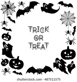 Halloween Background. Trick or treat. Halloween background with bats, ghosts, spiderweb, spiders and pumpkins. Vector illustration
