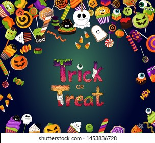 Halloween background. Trick or treat logo, creative monster text, design liters. Halloween sweets, delicious hand drawn icons. Hand drawn halloween food, pumpkins, ghost, eyeball, candy corn, cupcake