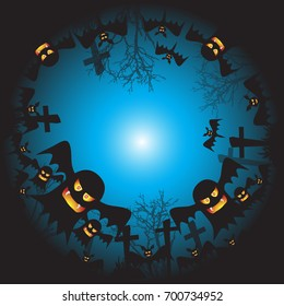 Halloween background vector ghost face