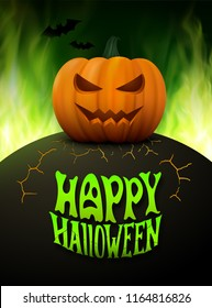 Halloween background. Vector illustration with realistic pumpkin with scary face and green burning fire flames at night, bats and modern lettering text Happy Halloween