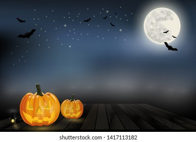 Halloween background vector with orange pumpkin lantern on wood, full moon and bat silhouette style