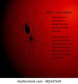 Halloween background with web and spider Dark background