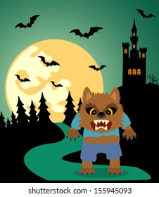 Halloween background with Werewolf and full moon