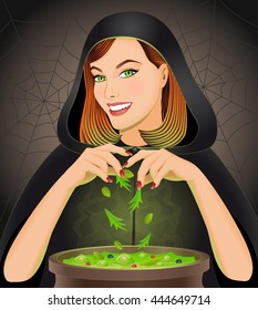 Halloween background with witch brewing magic potion in cauldron. Halloween concept. Vector illustration.
