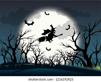 Halloween background / witch flying on Halloween night