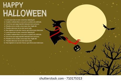 Halloween background, witch is flying on the sky.