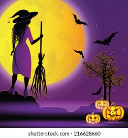 Halloween background with young witch.