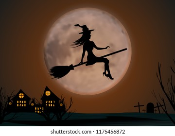 Halloween background. Young witch flying on a broomstick on the background of a full moon over the castle and cemetery. Vector illustration.