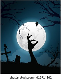 Halloween background with zombie hand on cemetery and Moon, vector illustration.