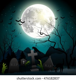 Halloween background with zombie hands, graveyard, bats on the full moon. Vector illustration