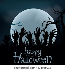 Halloween Background. Zombie hands rising out from the ground, vector illustration
