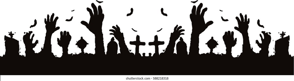 Halloween background with zombie hands sticking out of the ground, tombstones  on the cemetery