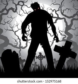 Halloween background with zombie, tree, tombstones and the moon on the cemetery