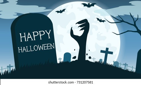 Halloween background with zombies hand in graveyard and the full moon - Vector illustration