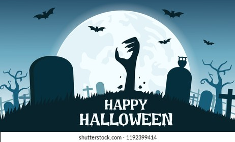 Halloween background with zombies hands in graveyard and the full moon - Vector illustration
