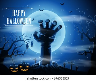 Halloween background with zombies and the moon. Vector illustration