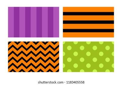 Halloween backgrounds set. Violet, otange, green simple wallpapersVector illustration