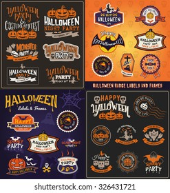 Halloween badge and label sticker collection. Halloween Party, Happy Halloween for sticker, label, banner, greeting card and invitation. Vector illustration