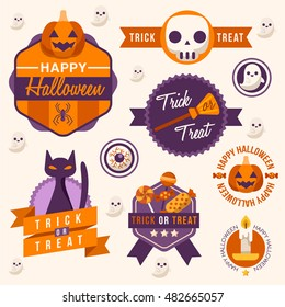 Halloween Badges and Labels : Vector Illustration