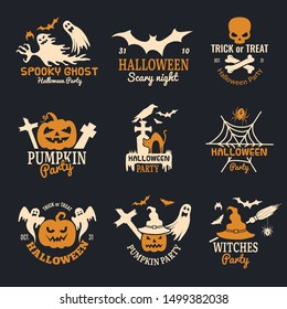 Halloween badges. Party scary logo horror symbols skull bones vector halloween collection
