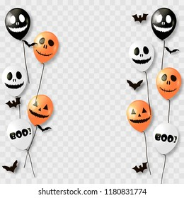 Halloween balloons and bats. Black orange and white colors on transparent background. Vector.