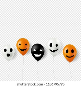Halloween Balloons Border Transparent Background With Gradient Mesh, Vector Illustration