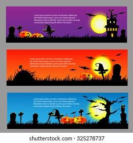 Halloween banner background for ticket, card vector