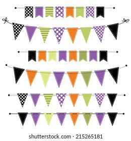 Halloween banner, bunting or flags on transparent background, for scrapbooking, vector format