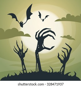 Halloween Banner Cemetery Graveyard Skeleton Hand From Ground Party Invitation Card Flat Vector Illustration