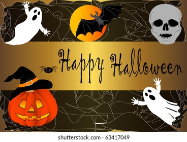 halloween banner in the cobweb. vector.