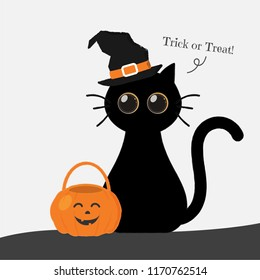 Halloween banner, Cute round eyes black cat with a witch hat sitiing with jack o lantern saying trick or treat.
