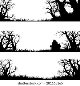 halloween banner and elements , silhouette vector set