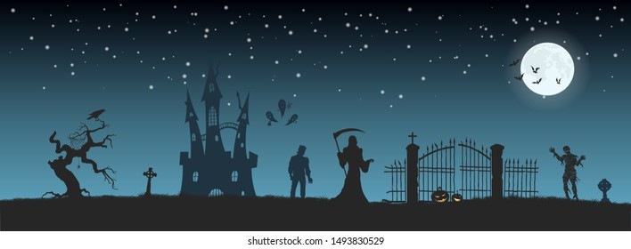 Halloween banner with fantasy silhouettes. Landscape of cemetary with mummy, death and frankenstein. Holiday scene of october party. Vector illustration