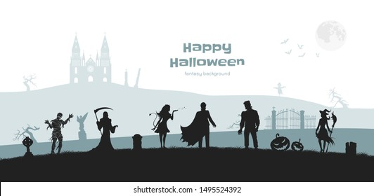 Halloween banner with fantasy silhouettes. Landscape of cemetary with mummy, witch and frankenstein. Holiday scene of october party. Horror panorama. Vector illustration