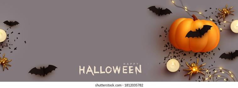 Halloween banner. Festive background with realistic 3d orange pumpkins and flying bats, golden spider, candles, light garlands. Horizontal holiday poster, header for website. Vector illustration