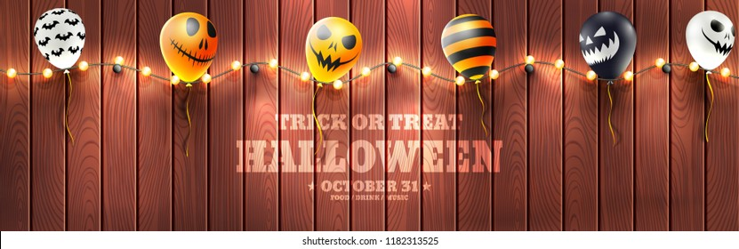 Halloween Banner with Halloween Ghost Balloons.Scary air balloons and string light on wood background.Website spooky or banner template.Vector illustration EPS10