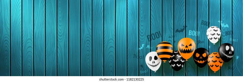 Halloween Banner with Halloween Ghost Balloons,Spider and Bat.Scary air balloons with wooden board background.Website spooky or banner  template.Vector illustration EPS10