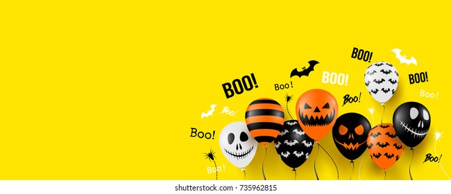 Halloween Banner with Halloween Ghost Balloons,Spider and Bat.Scary air balloons.Website spooky or banner  template.Vector illustration EPS10