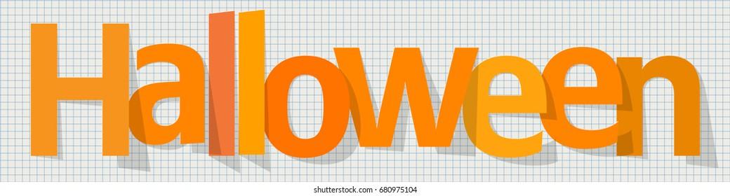 Halloween Banner orange on a checkered paper background.