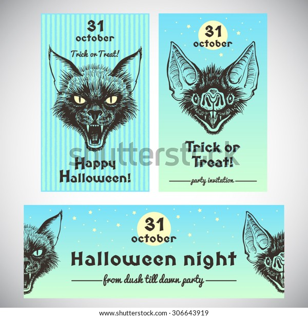 Halloween banner or party invitation collection with ink illustrations and lettering. Hand drawn scary black cat head and bat's grinning muzzle with open mouth and bared fangs. Poster design set.