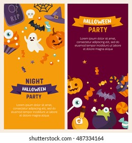 Halloween banner set template. Place for your text. Vector illustration with pumpkin, ghost, candies in flat style. Great design for halloween party, menu or invitation.