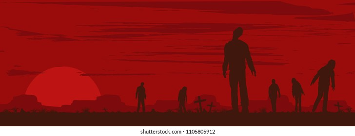 Halloween banner, Silhouette of zombies walking at graveyard, Vector Illustration