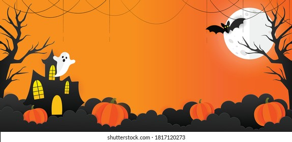 Halloween banner vector. Happy Halloween banner background with stars, clouds, bats, moon, clouds, castle, ghost, web and pumpkins in paper cut style. Orange background.