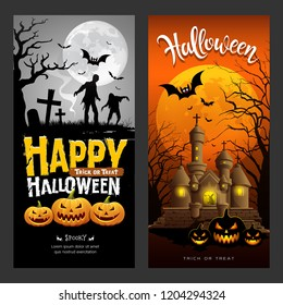 Halloween banners vertical collections design background, Vector illustrations