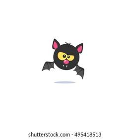 Halloween bat. Black bat. Bat with yellow eyes. Bat icon. Bat Vector illustratio. Bat flies. Cartoon bat.